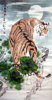 Chinese Tiger Painting,66cm x 136cm,4695023-x