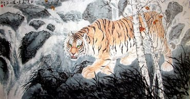 Chinese Tiger Painting,90cm x 200cm,4695029-x