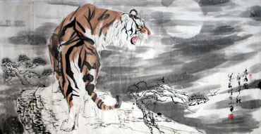 Chinese Tiger Painting,69cm x 138cm,4695034-x