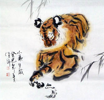 Chinese Tiger Painting,66cm x 66cm,4695035-x