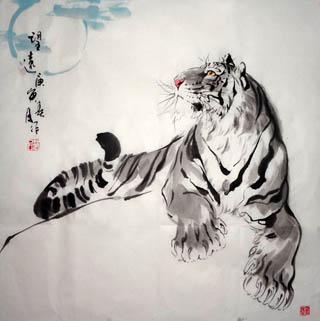Chinese Tiger Painting,66cm x 66cm,4695036-x