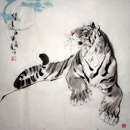 Aninimal Book: Chinese Tiger Painting 4695036, 66cm x 66cm(26〃 x 26〃)