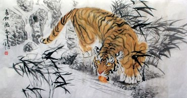 Chinese Tiger Painting,66cm x 136cm,4695037-x