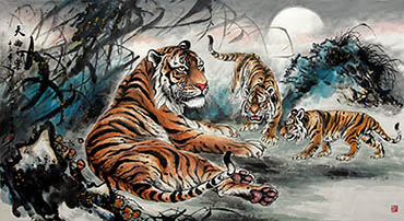 Chinese Tiger Painting,66cm x 136cm,4696001-x