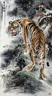 Chinese Tiger Painting,66cm x 136cm,4696002-x