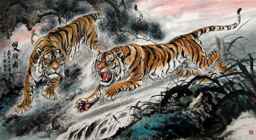 Chinese Tiger Painting,96cm x 180cm,4696003-x