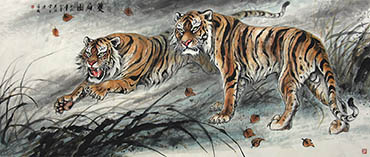 Chinese Tiger Painting,95cm x 230cm,4696004-x