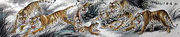 Chinese Tiger Painting,88cm x 455cm,4696005-x