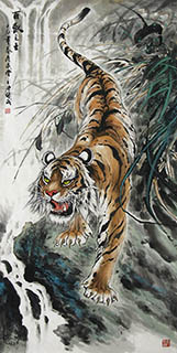 Chinese Tiger Painting,69cm x 138cm,4696006-x