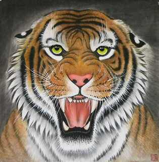 Chinese Tiger Painting,66cm x 66cm,4707003-x