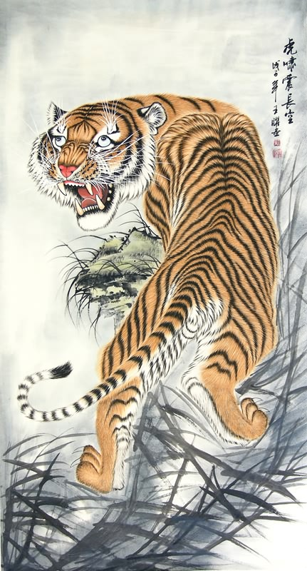 Ancient chinese tiger drawing - photo#24