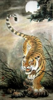 Chinese Tiger Painting,66cm x 120cm,4731024-x