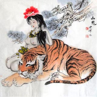 Chinese Tiger Painting,69cm x 69cm,4745002-x