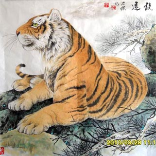 Chinese Tiger Painting,66cm x 66cm,4745005-x