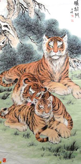 Chinese Tiger Painting,60cm x 120cm,4745006-x