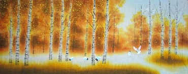 Chinese Trees Painting,60cm x 145cm,1035010-x