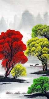Chinese Trees Painting,66cm x 136cm,1082023-x