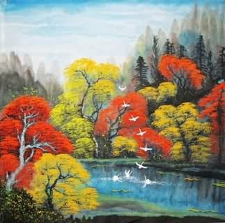 Chinese Trees Painting,69cm x 69cm,1134020-x