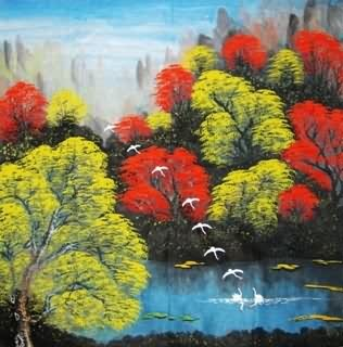 Chinese Trees Painting,69cm x 69cm,1134021-x