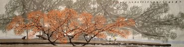 Chinese Trees Painting,34cm x 138cm,1171004-x
