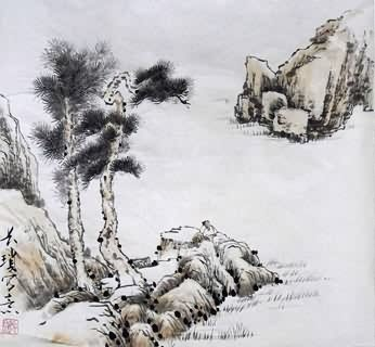 Chinese Trees Painting,45cm x 45cm,1175036-x