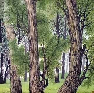 Chinese Trees Painting,69cm x 69cm,1178005-x