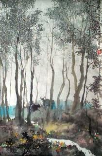 Chinese Trees Painting,43cm x 65cm,1178006-x