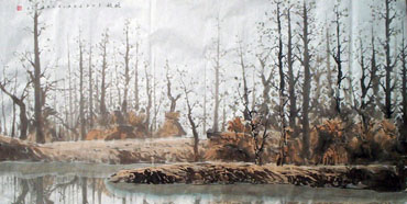 Chinese Trees Painting,35cm x 136cm,1178052-x