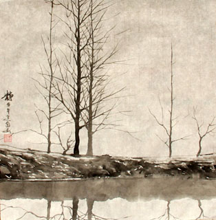 Chinese Trees Painting,33cm x 33cm,1178059-x