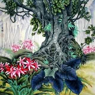 Chinese Trees Painting,66cm x 66cm,1417001-x