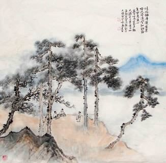 Chinese Trees Painting,69cm x 69cm,1426006-x