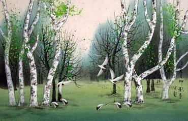 Chinese Trees Painting,46cm x 70cm,1528003-x