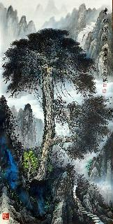 Chinese Trees Painting,66cm x 136cm,1738011-x