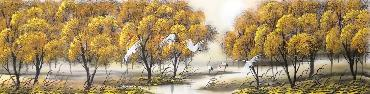 Chinese Trees Painting,34cm x 168cm,lz11095003-x