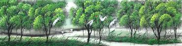 Chinese Trees Painting,34cm x 168cm,lz11095007-x