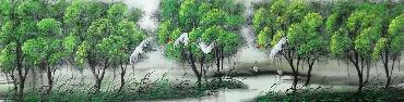 Chinese Trees Painting,34cm x 168cm,lz11095011-x