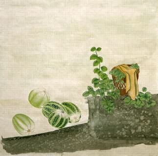 Chinese Vegetables Painting,66cm x 66cm,2340122-x