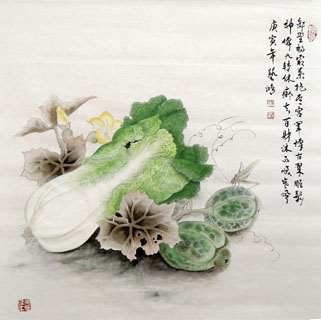 Chinese Vegetables Painting,66cm x 66cm,2384021-x