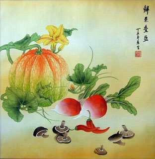 Chinese Vegetables Painting,69cm x 69cm,2385010-x
