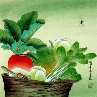 Chinese Vegetables Painting,33cm x 33cm,2385012-x
