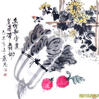Chinese Vegetables Painting,69cm x 69cm,2406003-x