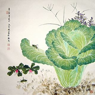 Chinese Vegetables Painting,69cm x 69cm,2410002-x
