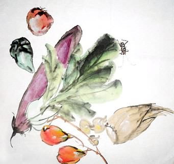 Chinese Vegetables Painting,33cm x 33cm,2528008-x