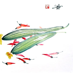 Chinese Vegetables Painting,33cm x 33cm,2604006-x