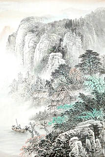 Chinese Village Countryside Painting,45cm x 65cm,1011034-x