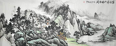 Chinese Village Countryside Painting,70cm x 180cm,1011036-x