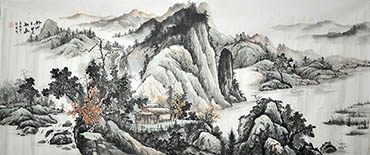 Chinese Village Countryside Painting,70cm x 180cm,1011040-x