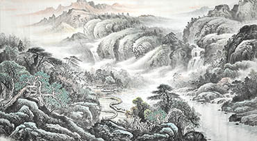 Chinese Village Countryside Painting,90cm x 180cm,1011042-x