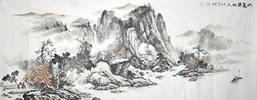 Chinese Village Countryside Painting,70cm x 180cm,1011043-x