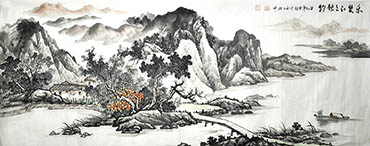Chinese Village Countryside Painting,70cm x 180cm,1011047-x